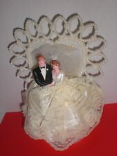 "Vintage 1959 ""Coast Novelty"" Wedding Cake Topper with Bride & Groom Mid-Century"