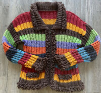 Vintage Multicolored Cable Knit Zip Up Chunky Sweater