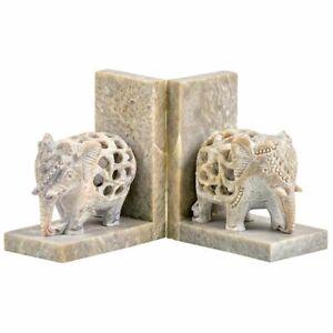 Hand Carved Soapstone Elephant Bookends Handmade Fair Trade