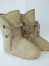 Ladies Outdoor Cosy Fleece Faux Fur Snow Ugg Boots Beige - Milly