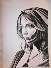 Paper Painting Natalie Dormer 1 B&W Art 16x12 inch Acrylic