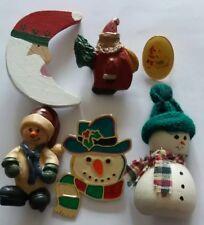 Pin Brooch Mixed Lot of 6 Holiday Santa, Snowman Christmas Winter Theme
