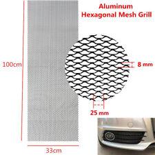 1x Car 100x33cm Hexagon Grille Mesh Net Sheet Black Tone Aluminum Alloy Grill
