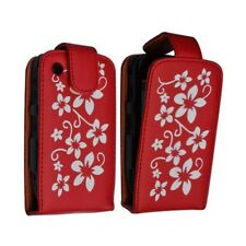 Housse coque étui rouge motif fleurs pour Blackberry Curve 8520 + film de protec