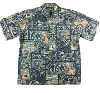 Reyn Spooner Mele Kalikimaka Hawaiian Santa Christmas Shirt Men's SZ L Santa EUC