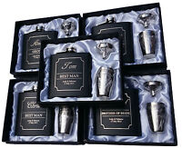 Engraved Steel HIP FLASK black 6oz in gift box with funnel & 4 shots white liner
