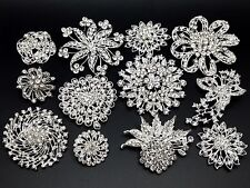 Lot 12pc Mixed (7L+5M) Alloy Sliver Rhinestone Crystal Brooches Pins DIY Bouquet
