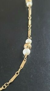 14K Gold Pearl Station Bar Link Chain Necklace