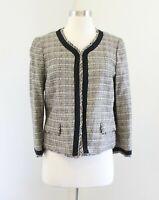 NWT Ann Taylor Loft Tan Black Woven Tweed Fringe Collarless Blazer Jacket Size 8