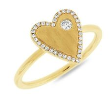Diamond Ring 14k Yellow Gold Pave Heart Floating Round Womens Cocktail 0.14ct