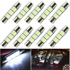 10 X White 31mm 3-SMD 5050 LED Bulb For Car Sun Visor Vanity Mirror Fuse Light