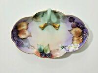 Bavaria Hand Painted Dish Plate Finger Handle Floral Porcelain Signed
