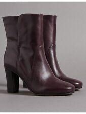 M&S AUTOGRAPH Oxblood Leather Block Heel Ankle Boots Size UK 4 - EUR 37