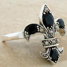 Sterling Silver Ring Sz 5, #593 Genuine Black Agate Fleur-De-Lis Victorian 925