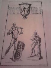 GRAVURE ANCIENNE D'EPOQUE BACCHUS SPON STATUE DE ROME FORMAT 26 x 40 cm