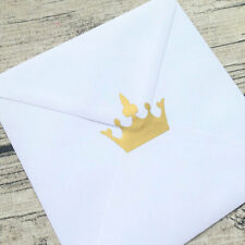 50 Gold crown envelope seals large Gold crown stickers, Gold crown mini decals,