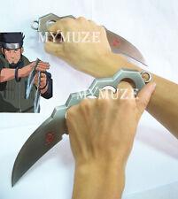 2 Pcs Metal Naruto Asuma Sarutobi Chakra Kunai Knife Blade Cosplay Props