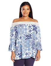One World XL Blue Print Strappy Off Shoulder Knit Ruffle Top NWT