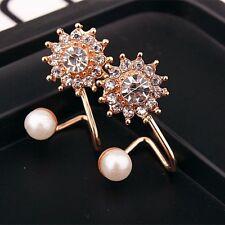 1pair Women Gold Lady Elegant Pearl Rhinestone Ear Stud Earrings Fashion Jewelry