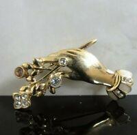 RARE Jeweled Hand With Flowers Rhinestone Enamel Gold Tone Brooch