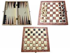SCACCHI  DAMA  BACKGAMMON  3 giochi in uno con scacchiera in LEGNO cm 30x30