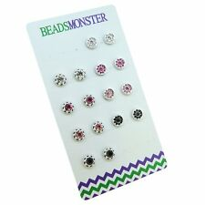 Color Crystal Round Magnetic Clip on Studs Earrings for Girls Kids Womens Mother