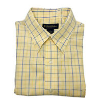Brooks Brothers Men's Long Sleeve Dress Shirt Large Yellow With Blue Stripes