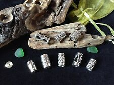 Dreadlock Beads x 8 ** STUNNING SILVER MIX PACK**  5-8mm Hole Size Dread Tubes