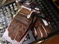 Guanti da moto epoca custom cafè racer estivi pelle traforata marrone FIVE glove