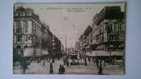 Vintage B&W Postcard Marseille France c1918 The Cannebiere Tram
