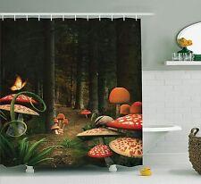 Mushrooms in Deep Dark Forest Fantasy Nature Themed Image Shower Curtain Set
