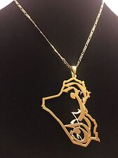 Iraq Map Pendant 24K Gold Plated Brass Elegant Arabic  Jewelry