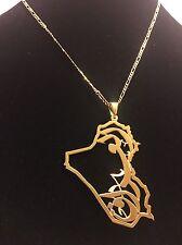 Iraq Map Pendant 24K Gold Plated Brass Elegant Arabic  Jewelry