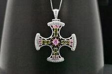 Sterling Silver MultiColor Pink Sapphire Peridot Garnet Cross Pendant Necklace