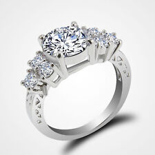 White Sapphire 10K  Filled Diamond Ring Women Size  10 UK  Size T 1/2