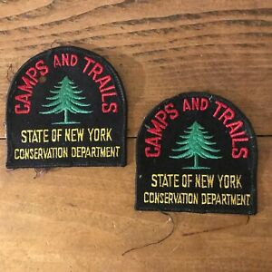 Pair of VINTAGE Camps & Trails STATE of NEW YORK Conservation Department Patches