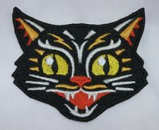 Embroidered Retro Vntage Lucky Black Cat Halloween Applique Jacket Patch Iron On