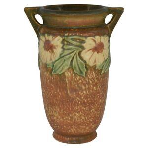 Vintage Roseville Pottery Dahlrose 1928 Brown Vase 366-8