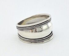 Mens Womens Sterling Silver 925 Bali Artisan Wide Band Boho Ring S 6 7 8 9 10 11