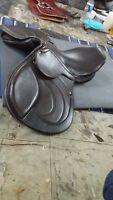 17''english saddle brown leather close contact saddle