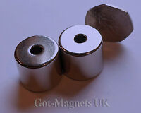 2 Pack N48 Neodymium Cylinder Disc Magnet 23mm dia x 20mm Central Hole 6mm Hole