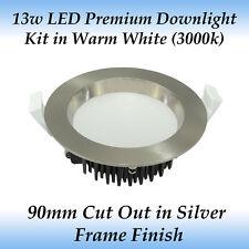 13 Watt Brushed Chrome Premium Dimmable LED Downlight Kit in Warm White Light