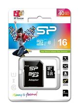 SILICON POWER 16GB MICRO SDHC Class 10 SD Card & Adapter SP016GBSTH010V10SP F40