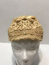 Vintage Half Capulet Crochet Stitching Beige Head Band Hat With Silk Bow