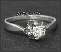 Antiker Diamant Brillant Solitär Ring, 0,25ct Top Wesselton & VS, 585 Weißgold