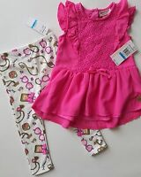 Juicy Couture Girls Outfit Set Pink Top & Leggins  Size 24M NWT