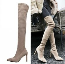 Womens Ladies Pointy Toe Block Heels Over The Knee Stretch Thigh High Boots Size
