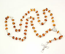 Beautiful silver Catholic ROSARY with genuine cognac BALTIC AMBER stones