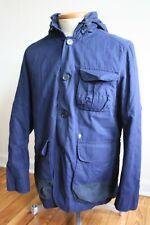 Plectrum Ben Sherman M Navy Blue Cotton Jacket Coat Button Front Hood