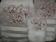 Northwoods Moose Head Cabin Bath Hand Towel Set Embroidered
